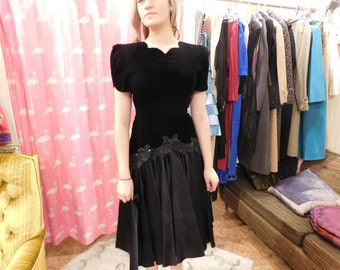 1980  black velvet with Taffeta  skirt
