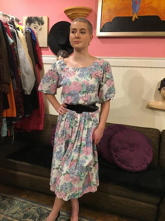 Vintage dress /floral floral dress /size large/co… - image 5