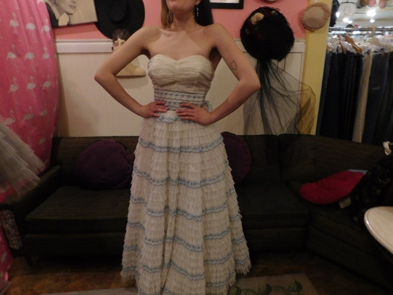 1950's Cupcake Dress/ Nylon / Tulle / Size Small