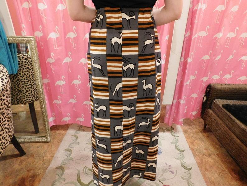 1980/'s Skirt Tribal African  Hand made Novelty print retro Safari