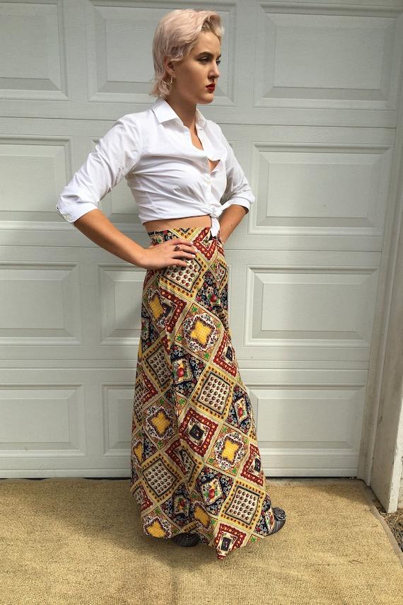 Vintage Skirt/ Novelty print fruit/  Maxi dress/ R