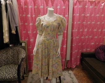 1980's Laura Ashley/ Floral dress/ Summer dress/ Garden Party dress/