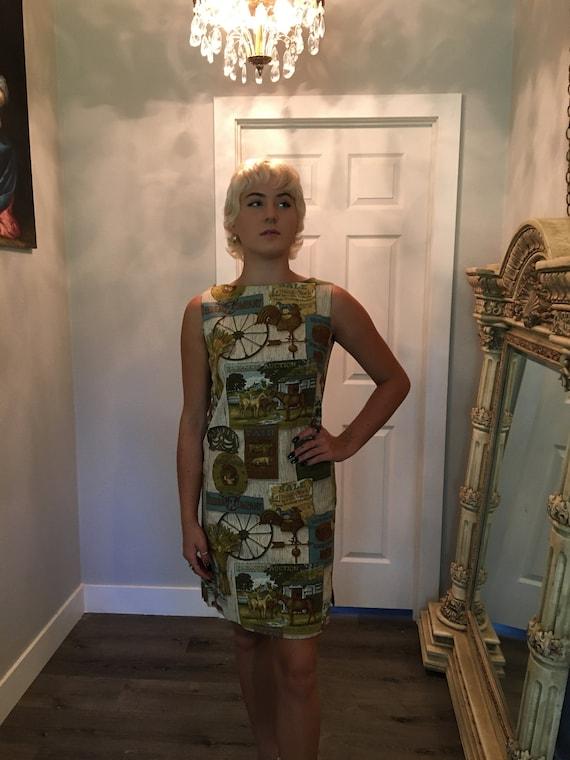 Vintage Shift  dress /Size small / farm dress / sc