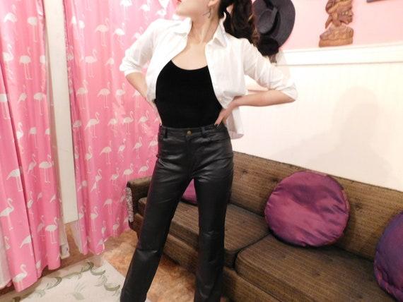 Black Leather pants / Vintage pants / Size 4/ 1980
