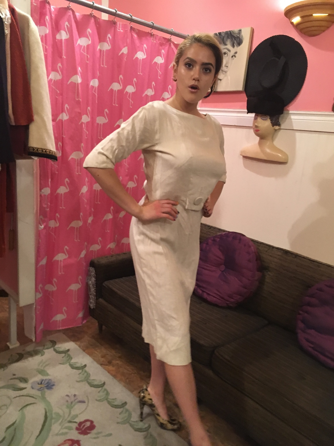 1950s Raw  linen dress / Pin Up / Size Large / Pin up/  Carl