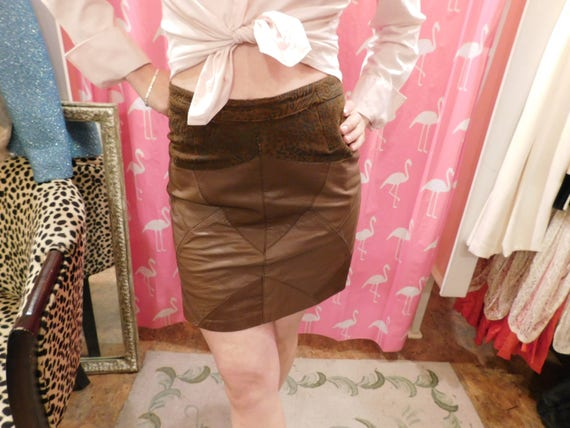 1980's Mini skirt. Leather / Suede/ Brand/ Celina/