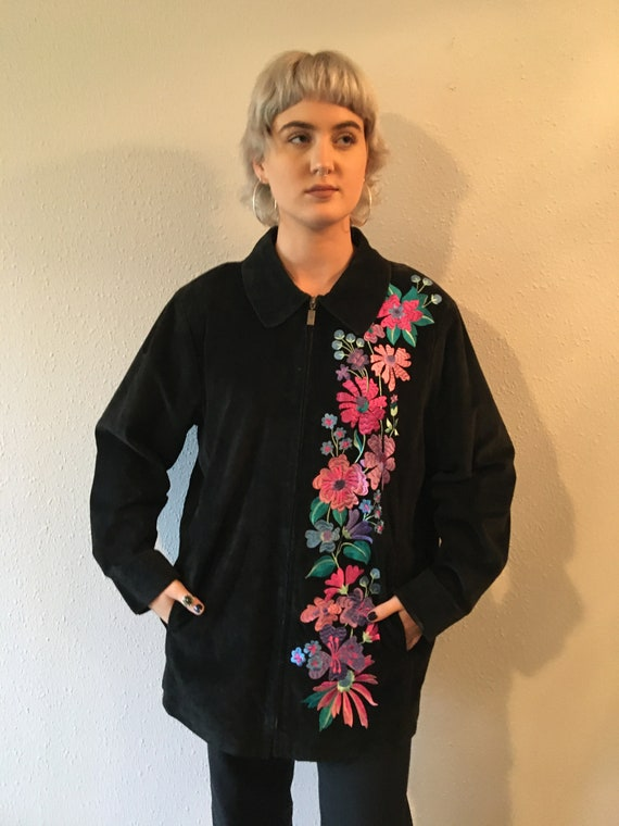 Vintage suede jacket / floral embroidered/ zipper