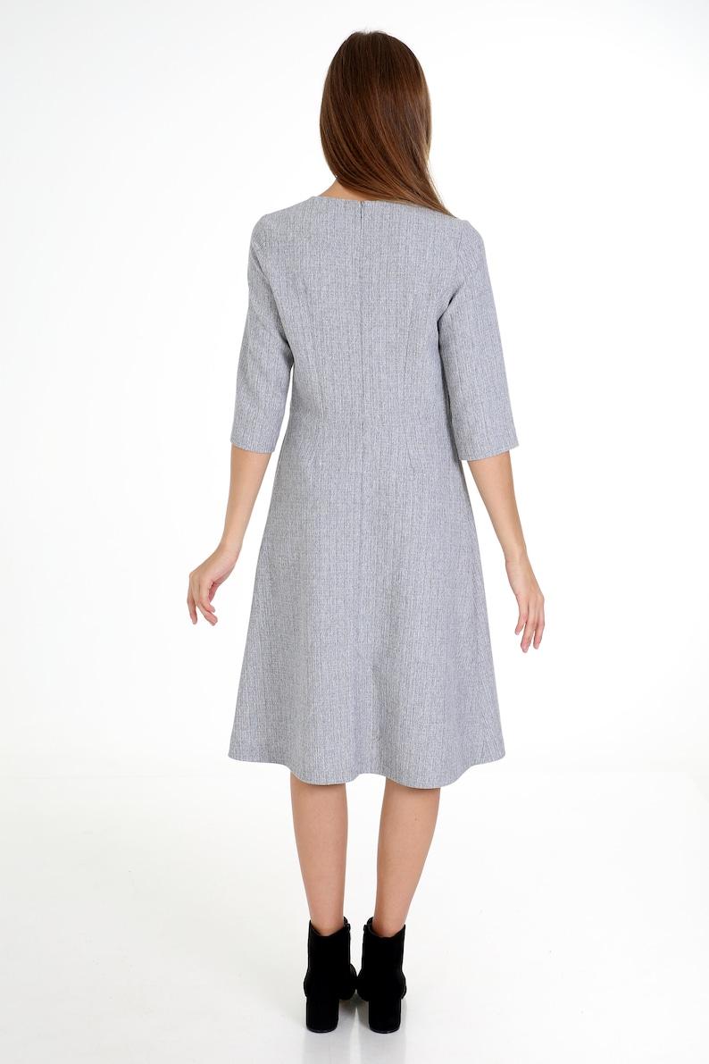 A Line Dress,Office Dress,Formal Dress,Grey Dress,Light Grey,Steel,Pleated Neck,Crew Neck,Midi Dress