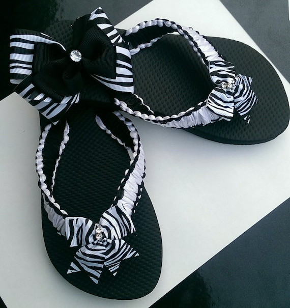 bd930cd0c5c090 Black   White Flip Flops with matching hair bow