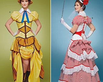 Steampunk Sewing Patterns- Dresses, Coats, Plus Sizes, Men's Patterns Simplicity Pattern 8159 Misses Cosplay Costumes with Corsets $5.95 AT vintagedancer.com