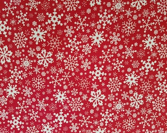 Packed Snowflakes Cotton Fabric (1 yard 18 inches)