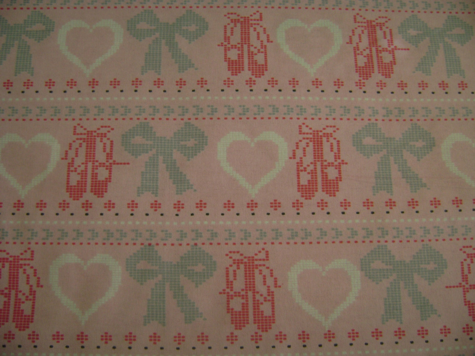 ballet shoes cross stitch flannel fabric (1 yard 4 inches)