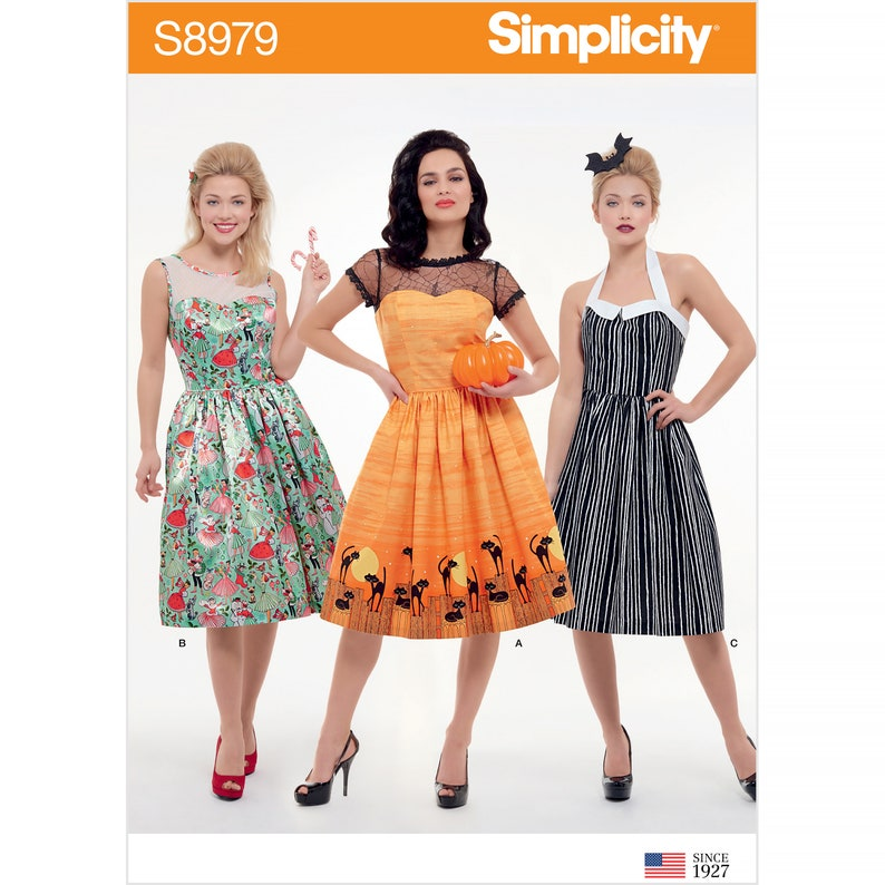 1950s Fabrics & Colors in Fashion Simplicity Sewing Pattern S8979 Misses Classic Halloween Costume $5.95 AT vintagedancer.com