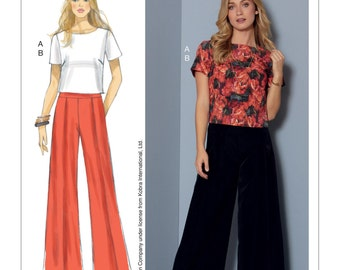 McCall's Pattern M7483 Misses' Short Sleeve Top and Pleated, Wide-Leg Pants