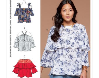 McCall's Pattern M7573 Misses' Ruffle Tops with Off-the-Shoulder and Tie Options
