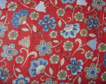 Blue Flowers on Red Fabric (1 yard 25 inches)