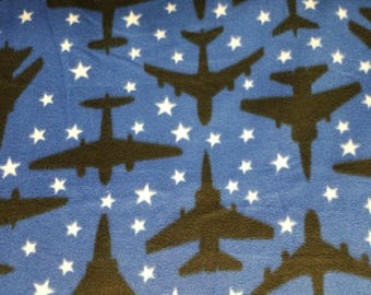Airplanes in the Stars Fleece Fabric (1 yard 20 inches)