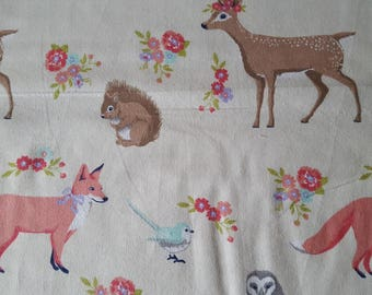 Sweet Forest Creatures Flannel Fabric (1 yard 34 inches)