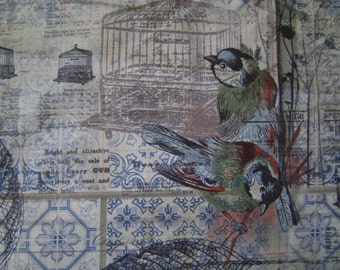 Eclectic Element Menagerie Blue Cotton Fabric by the yard
