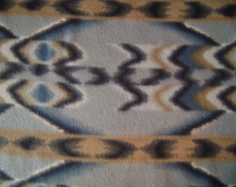 Blue Native American Print Fleece Fabric Sold by the Yard