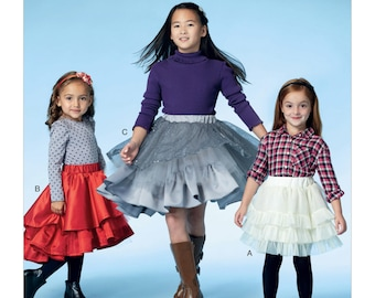 McCall's Pattern M7498 Children's/Girls' Tiered and Ruffled Skirts