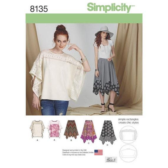 Fácil de coser falda simplicidad modelo 8135 señoritas en tres | Etsy