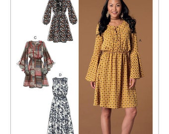 McCall's Pattern M7431 Misses' Elastic-Waist Dresses with Sleeve Variations