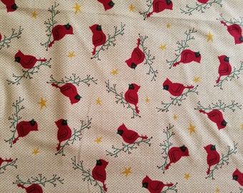 Cardinals on Branches Cotton Fabric (1 yard 26 inches)