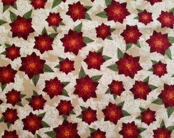 Poinsettias Cotton Fabric (1 yard 35 inches)