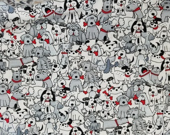 Playful Pups with Bones Cotton Fabric Sold by the Yard