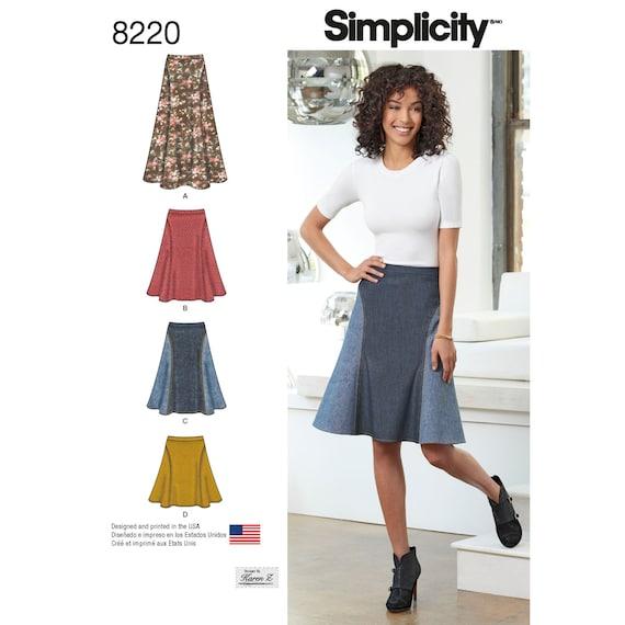 Einfachheit Muster 8220 Misses Rock in drei Längen