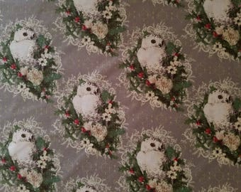 Holiday Owl Cotton Fabric (1 yard 33 inches)
