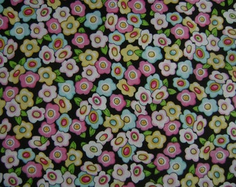 Mary Eng Flowers Black Cotton Fabric Sold by the Yard