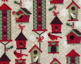 Christmas Birdhouses Cotton Fabric (1 yard 6 inches)