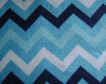 Blue Chevron Antipill Fleece Fabric (1 yard, 33 inches)