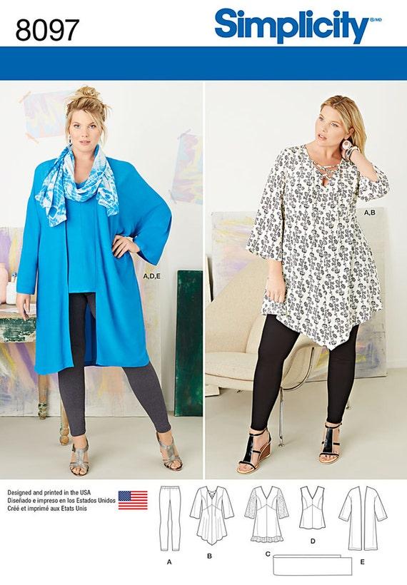 Einfachheit Schnittmuster 8097 Plus Größe Tunika Top Kimono | Etsy