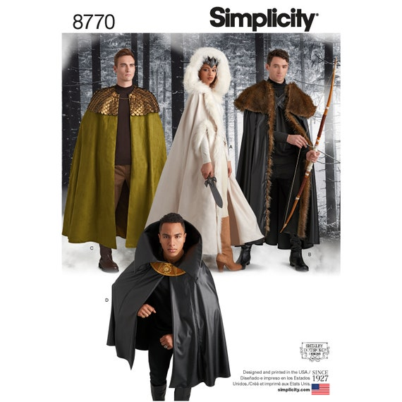 Simplicity Sewing Pattern 8770 Unisex Costume Capes | Etsy