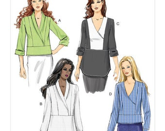 Butterick Pattern B6417 Misses' Surplice, Paneled Tops
