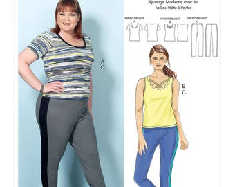 Butterick Pattern B6498 Misses'/Women's Knit Tops and Elastic-Waist Pants with Contrast Band