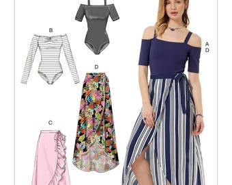 McCall's Pattern M7606 Misses' Off-the-Shoulder Bodysuits and Wrap Skirts with Side Tie