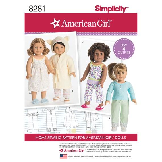 Einfachheit Muster 8281 American Girl 18 Puppenkleider