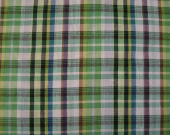 Madras Check Green Cotton Fabric by the yard