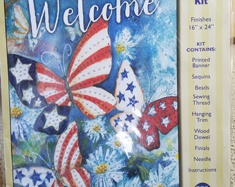 Patriotic Welcome Butterflies Jeweled Banner Kit