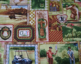 Tee Time Gold Patch Cotton Fabric by the yard