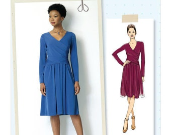 Butterick Pattern B6411 Misses' Ruched, Surplice Dress