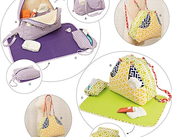 OUT of PRINT Simplicity Pattern 8031 Convertible Diaper Bats and Changing Pad