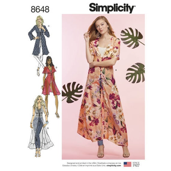 Simplicity Sewing Pattern 8648 Misses Duster In Two Etsy