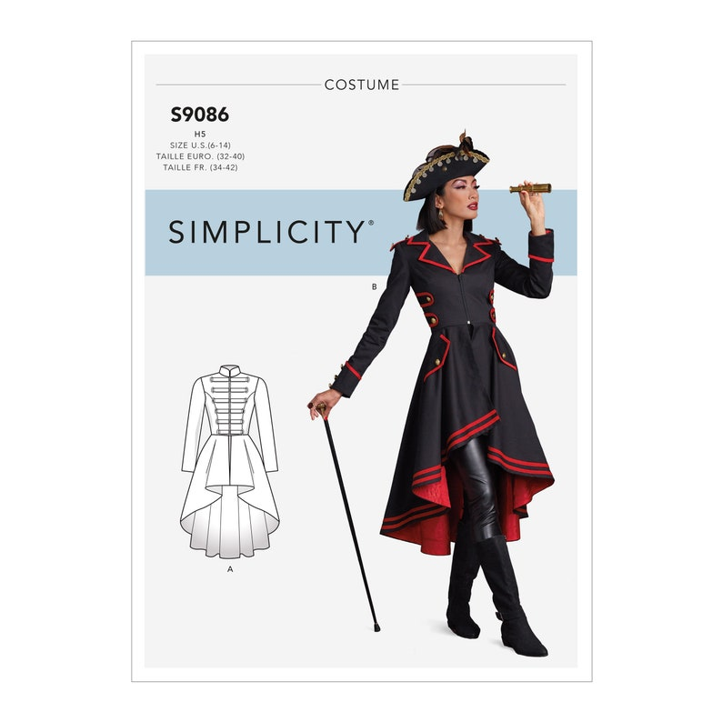 Steampunk Sewing Patterns- Dresses, Coats, Plus Sizes, Men's Patterns     Simplicity Sewing Pattern S9086 Misses Steampunk Costumes $6.95 AT vintagedancer.com