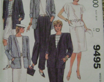 VINTAGE McCalls Pattern 9495 Misses' Jacket, Top, Skirt and Pants or Shorts
