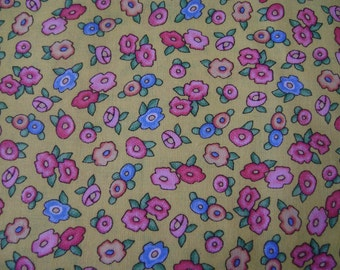 Mary Eng Flowers Yellow Cotton Fabric Sold by the Yard